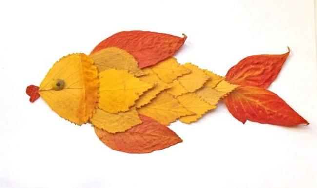 Рыбка поделка из листьев