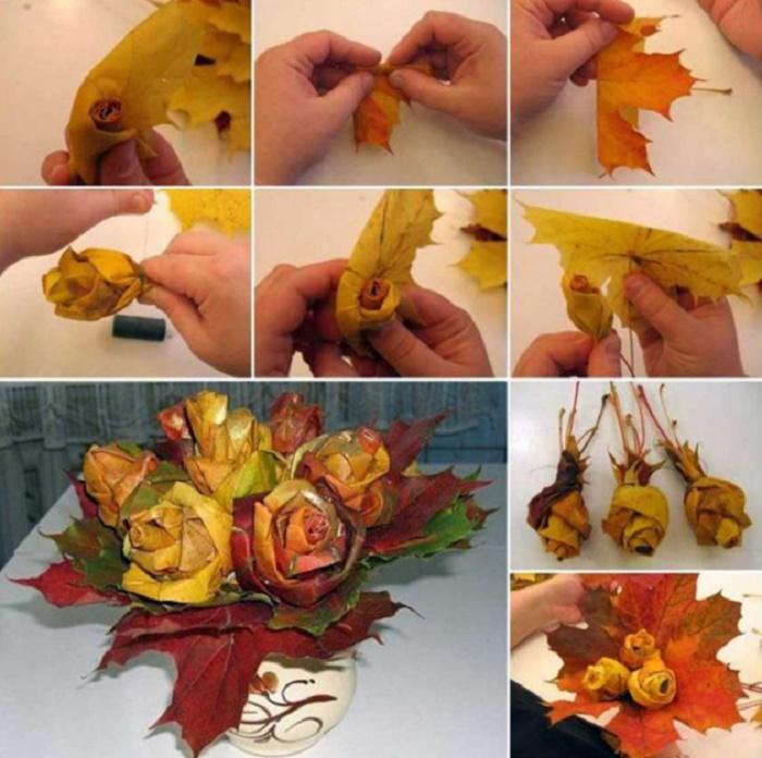Поделки из листьев своими руками фото 69