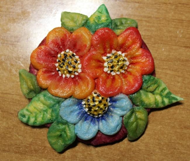 Фото цветы из солёного теста для детей