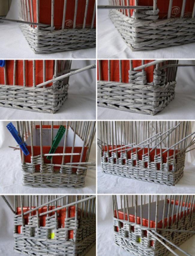 Плетение корзины из бумажных трубочек