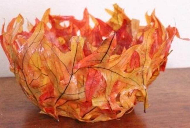 Ваза из листьев своими руками