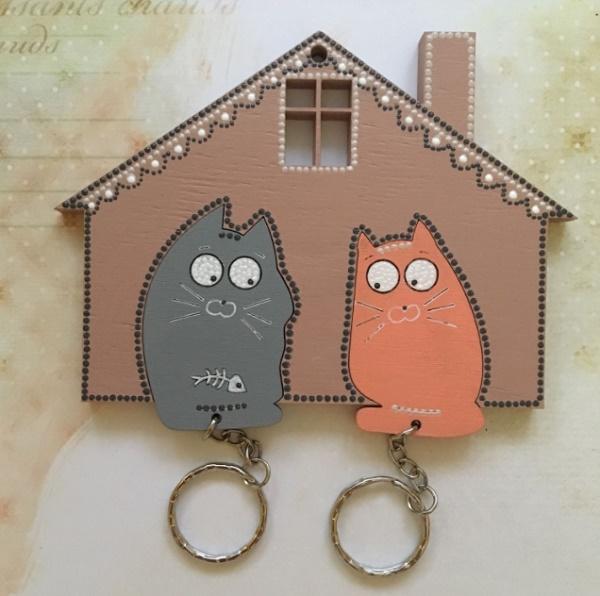 Ключница с котами своими руками