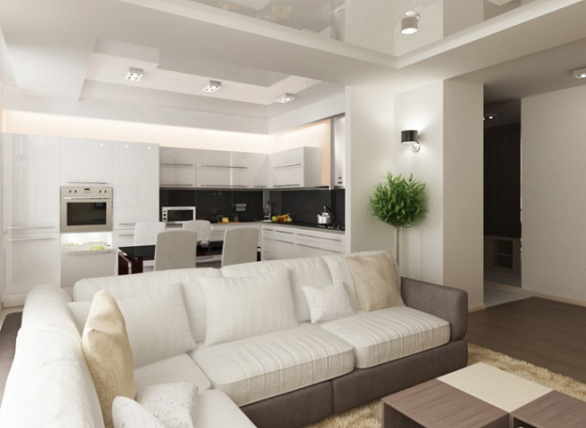 Как совместить кухню с гостиной