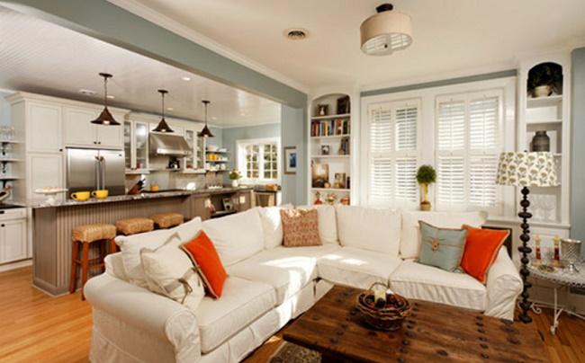 Сочетание гостиной и кухни