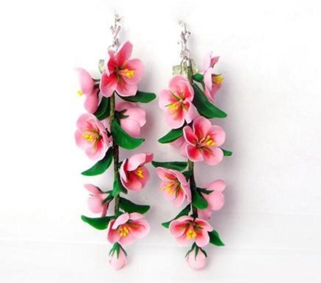 Серьги цветы из полимерной глины