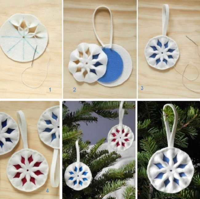 Новогодние украшения из ватных дисков своими руками