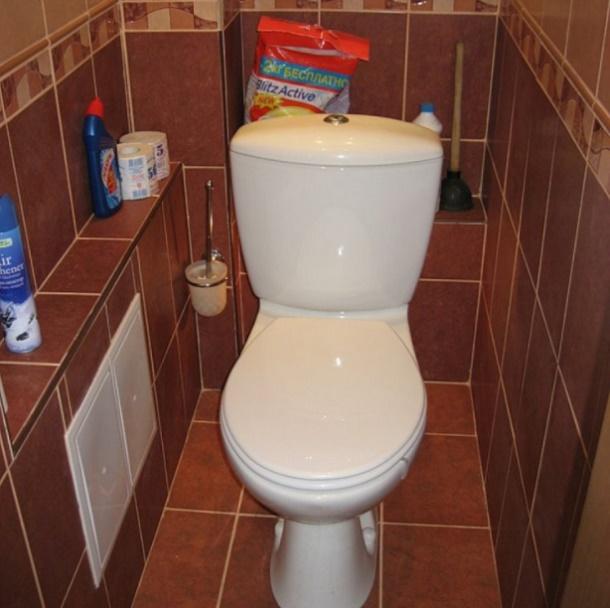 Прячем трубы в туалете фото