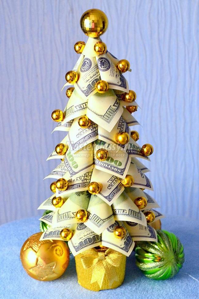 Денежная новогодняя елка своими руками