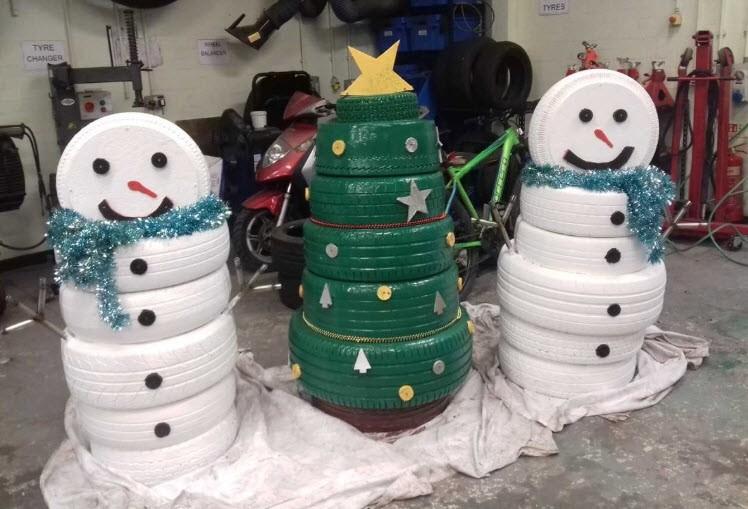 Поделки из шин: Снеговик из автомобильных покрышек своими руками
