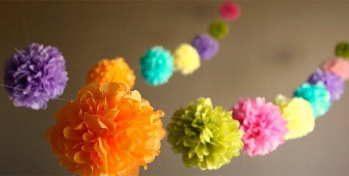 Как сделать гирлянду из бумажных цветов