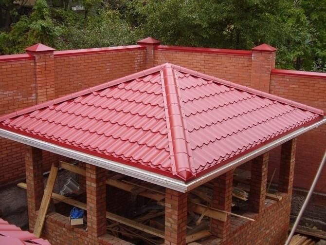 Форма крыши беседки шатровая