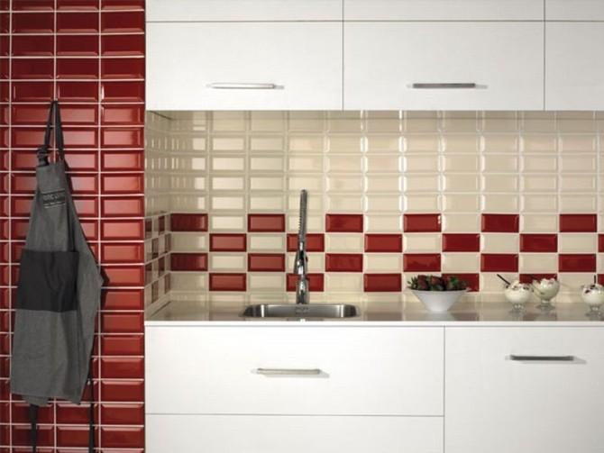 Фартук из плитки для кухни, прямоугольная плитка