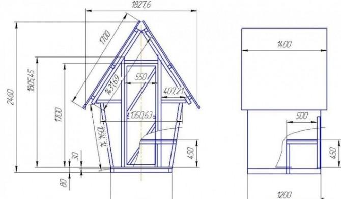 Схема дачного туалета избушка