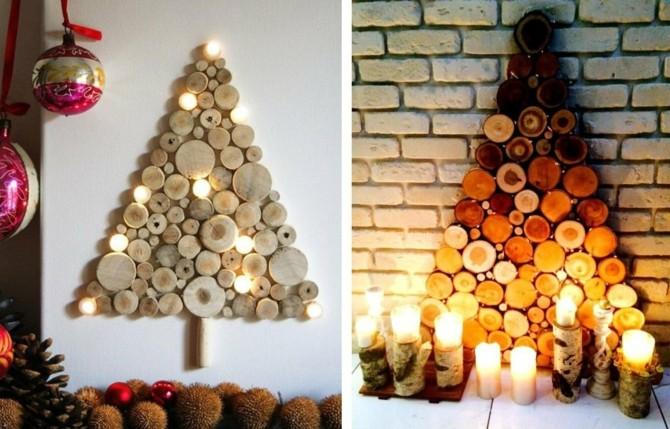 Плоские новогодние елки на стене из дерева